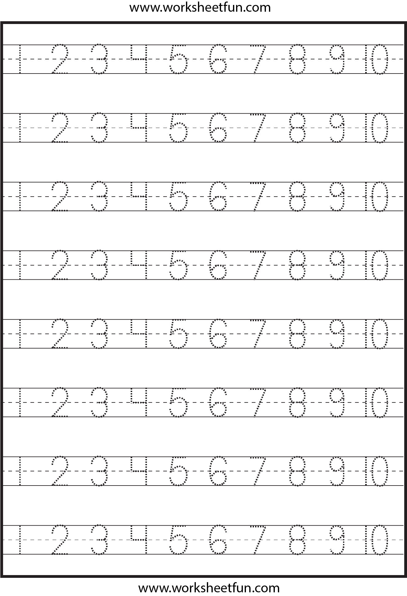 Number Tracing Worksheets 1 20