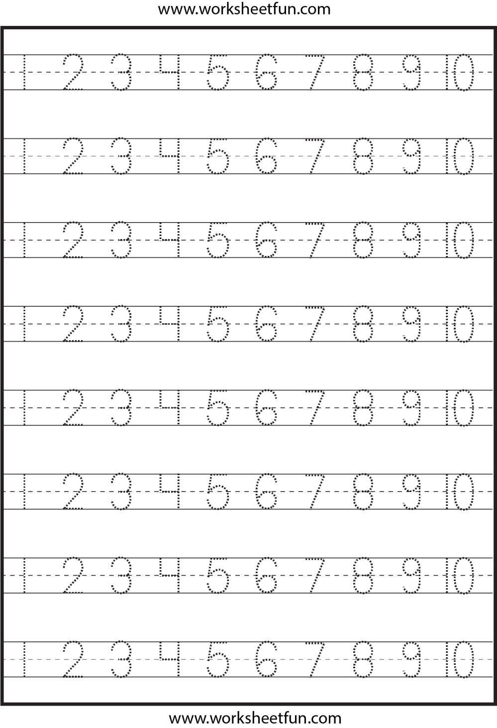 medium resolution of Number Tracing – 1-10 – Worksheet / FREE Printable Worksheets – Worksheetfun