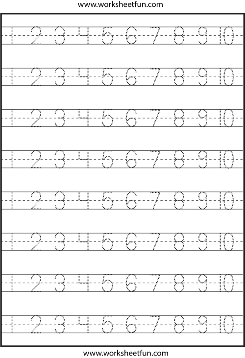 small resolution of Number Tracing – 1-10 – Worksheet / FREE Printable Worksheets – Worksheetfun