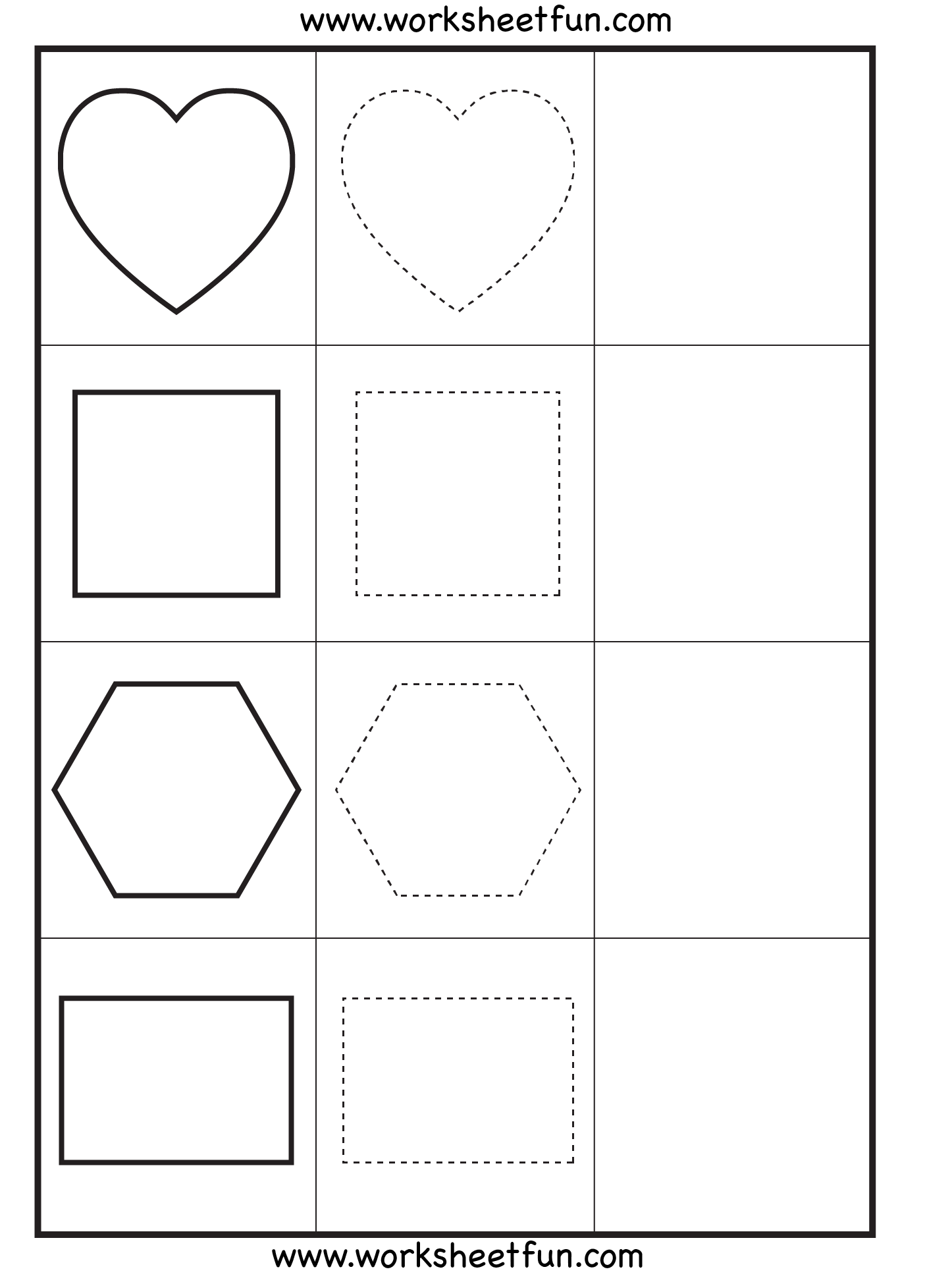 Shape Tracing 3 Worksheets Free Printable Worksheets