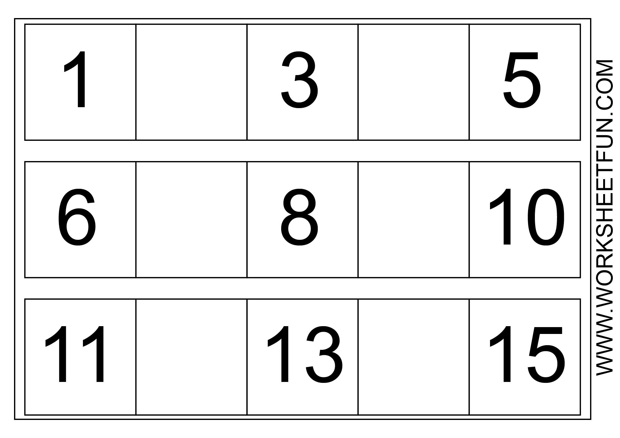 Missing Numbers 1 15 Three Worksheets Free Printable