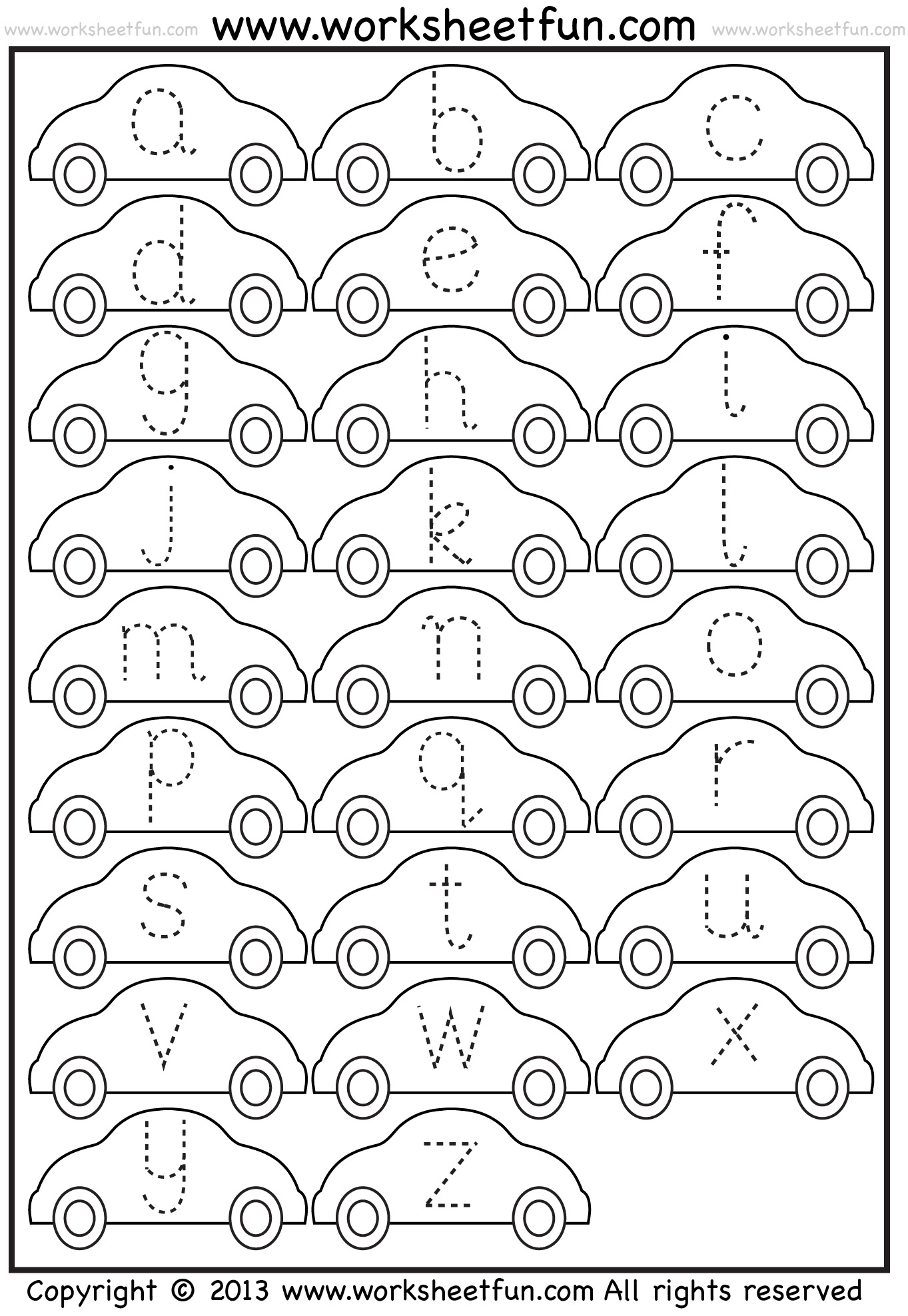 Small Letter Tracing Lowercase Worksheet Car Free