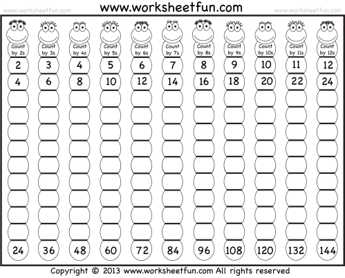 small resolution of Times Table – 2-12 Worksheets – 1