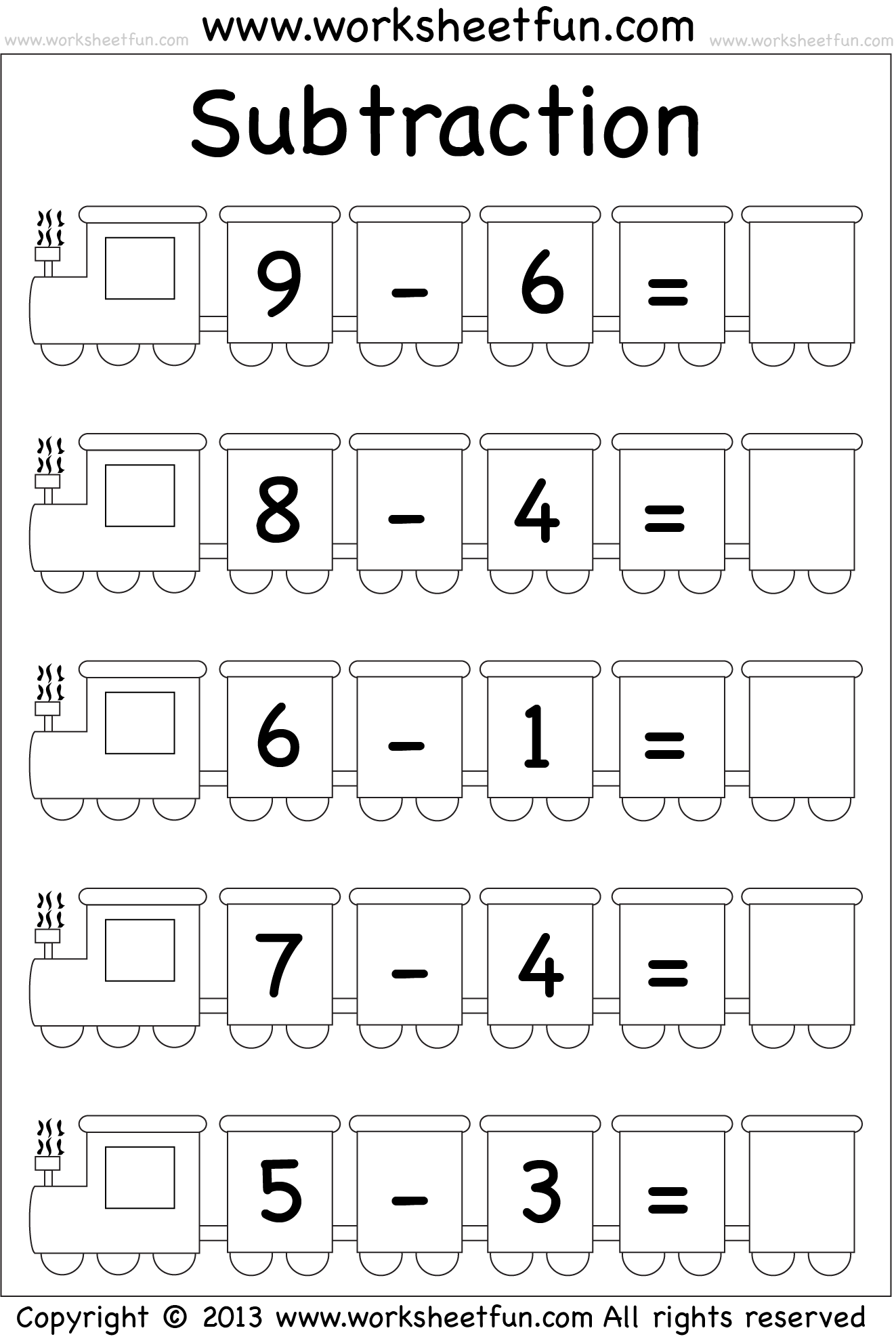 Beginner Subtraction 5 Kindergarten Subtraction