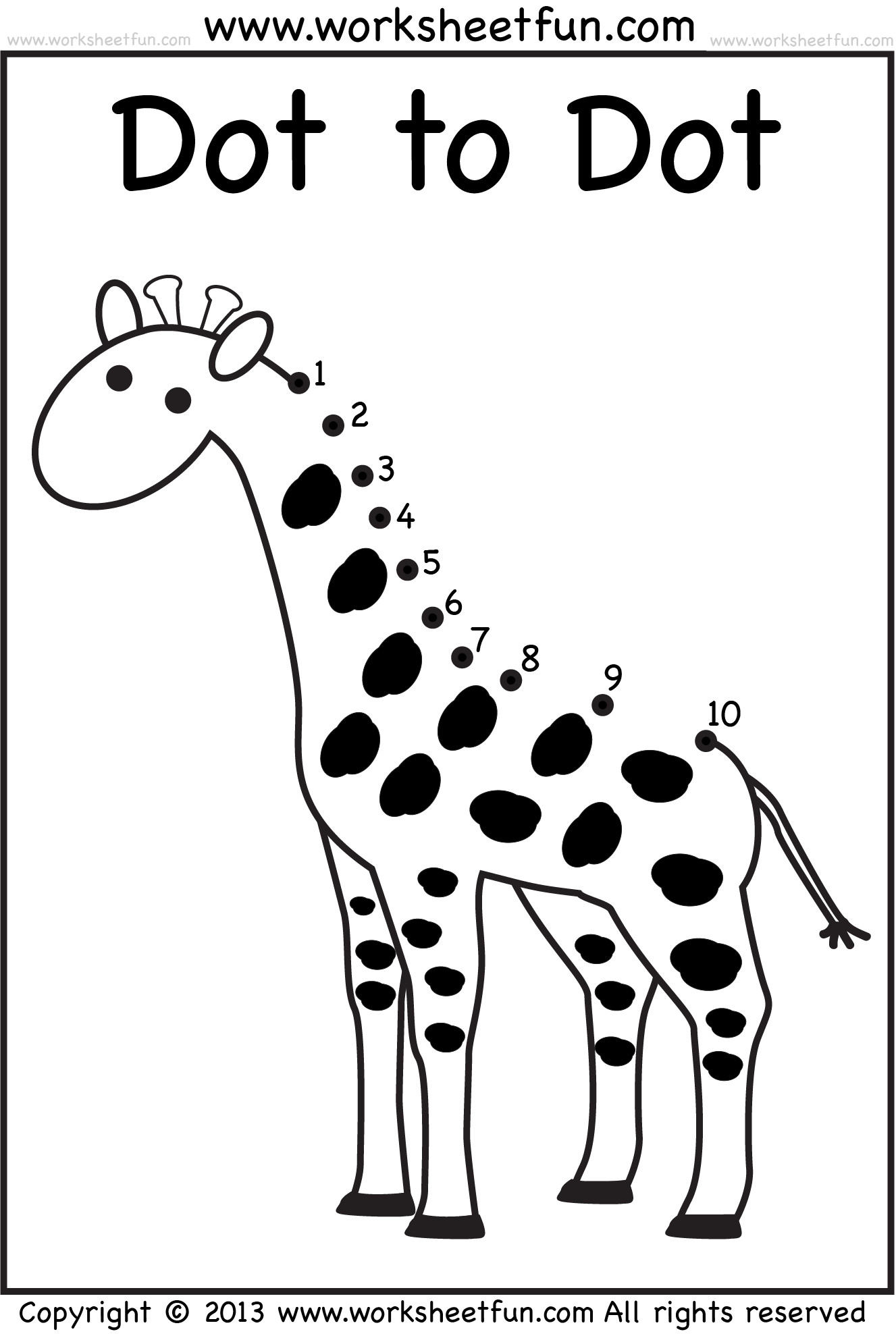 Dot To Dot Numbers 1 10 Eight Worksheets Banana Giraffe Butterfly Balloon Tree Boot