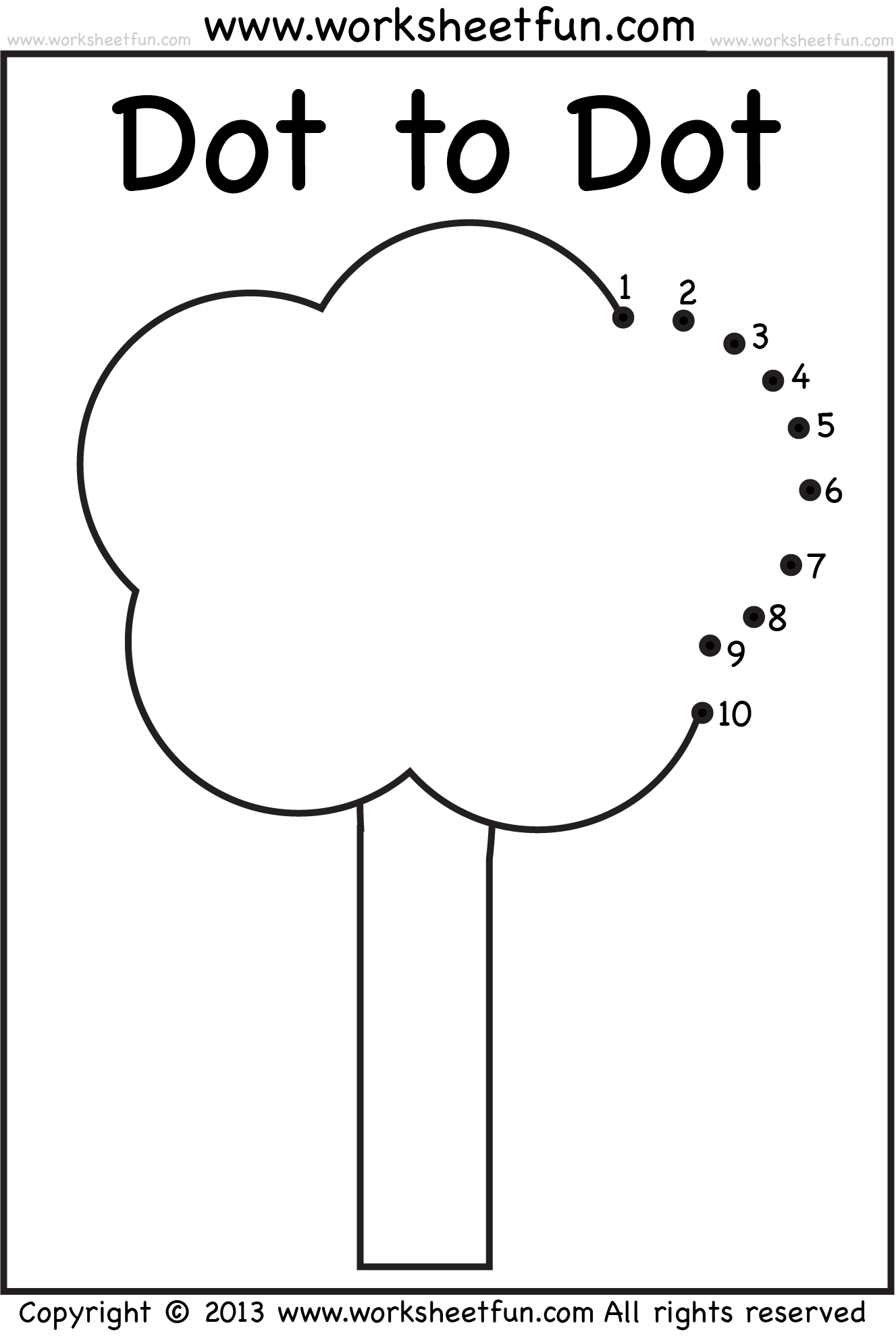 Dot To Dot Numbers 1 10 Eight Worksheets Banana