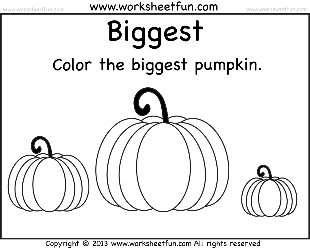 medium resolution of Biggest and Smallest Pumpkin – 2 Worksheets / FREE Printable Worksheets –  Worksheetfun