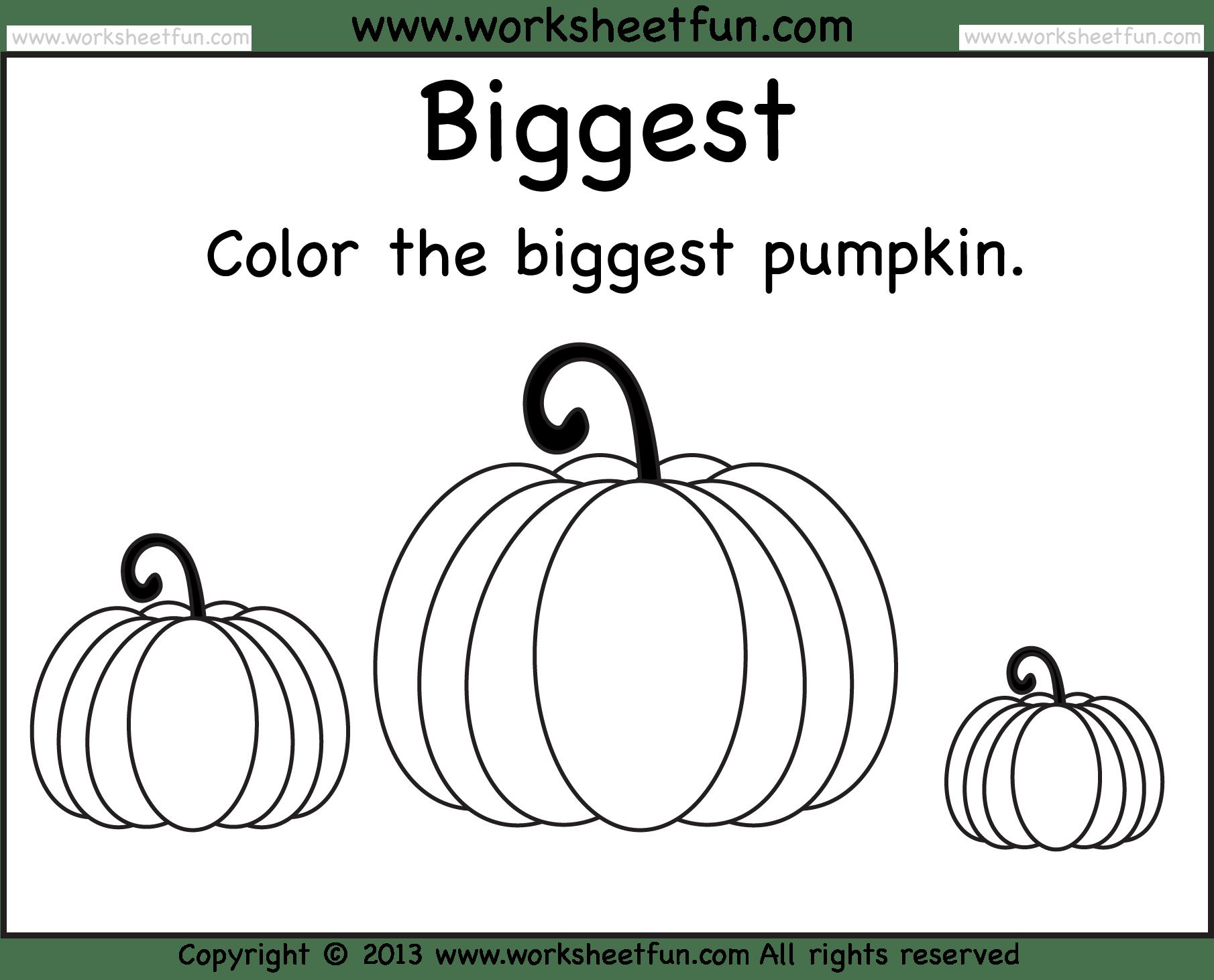 hight resolution of Biggest and Smallest Pumpkin – 2 Worksheets / FREE Printable Worksheets –  Worksheetfun