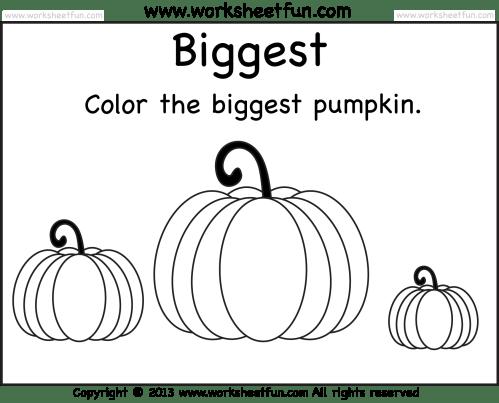 small resolution of Biggest and Smallest Pumpkin – 2 Worksheets / FREE Printable Worksheets –  Worksheetfun