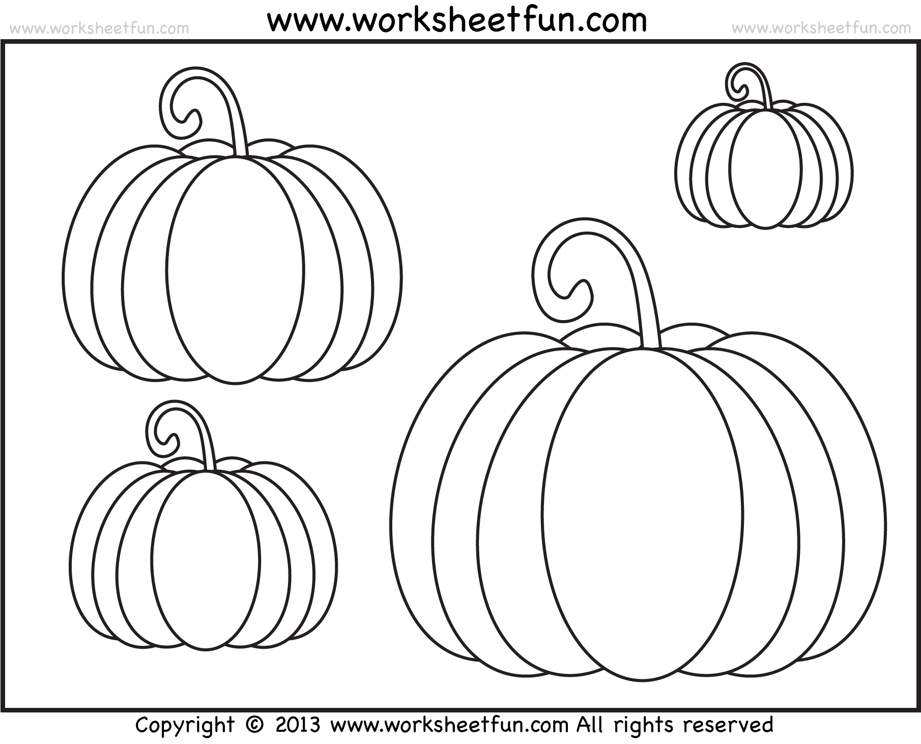 Pumpkin Coloring 3 Worksheets Free Printable Worksheets Worksheetfun
