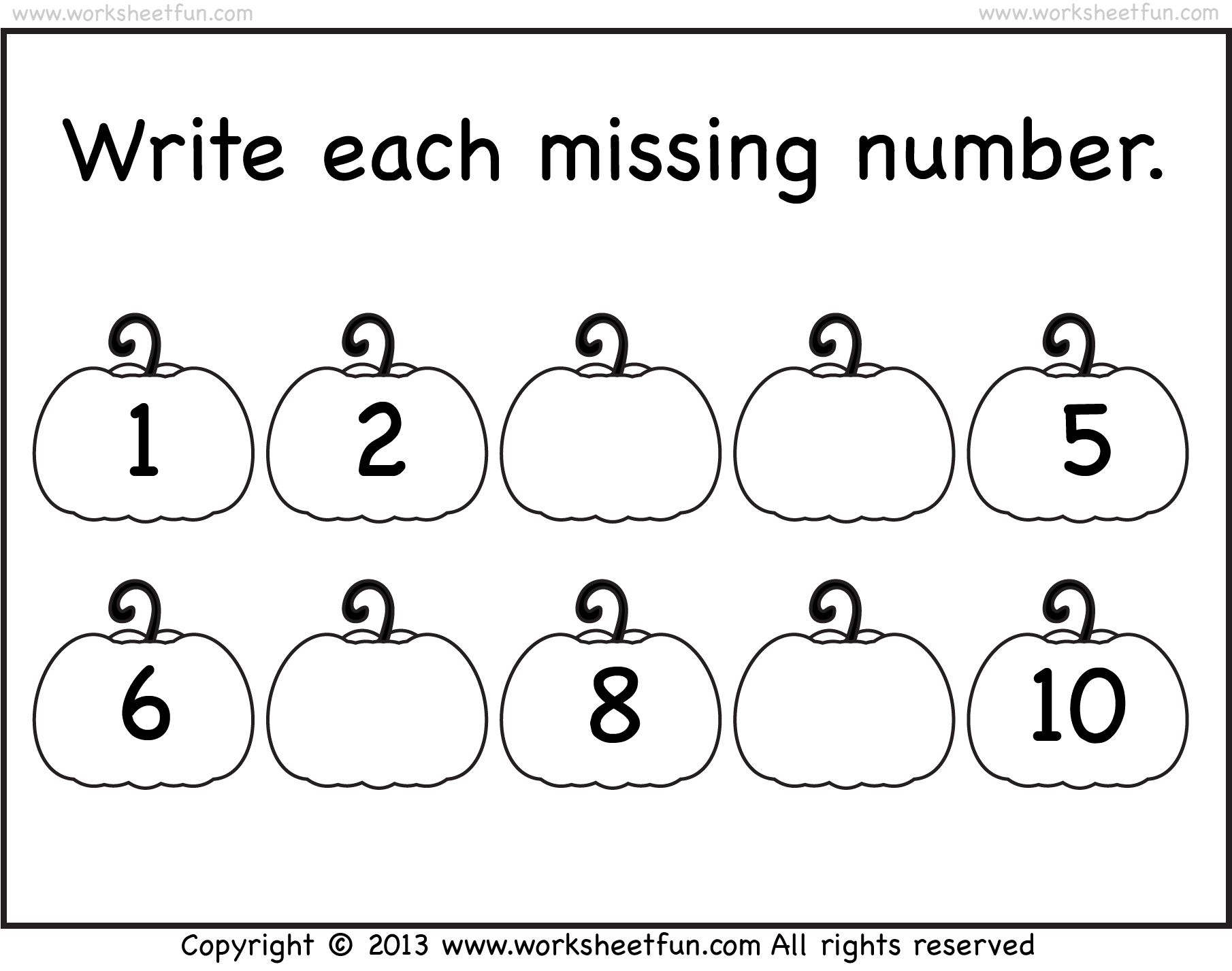 Missing Numbers 1 10 Worksheet Free Printable