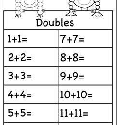 Addition Doubles – 1 Worksheet / FREE Printable Worksheets – Worksheetfun [ 1982 x 1324 Pixel ]