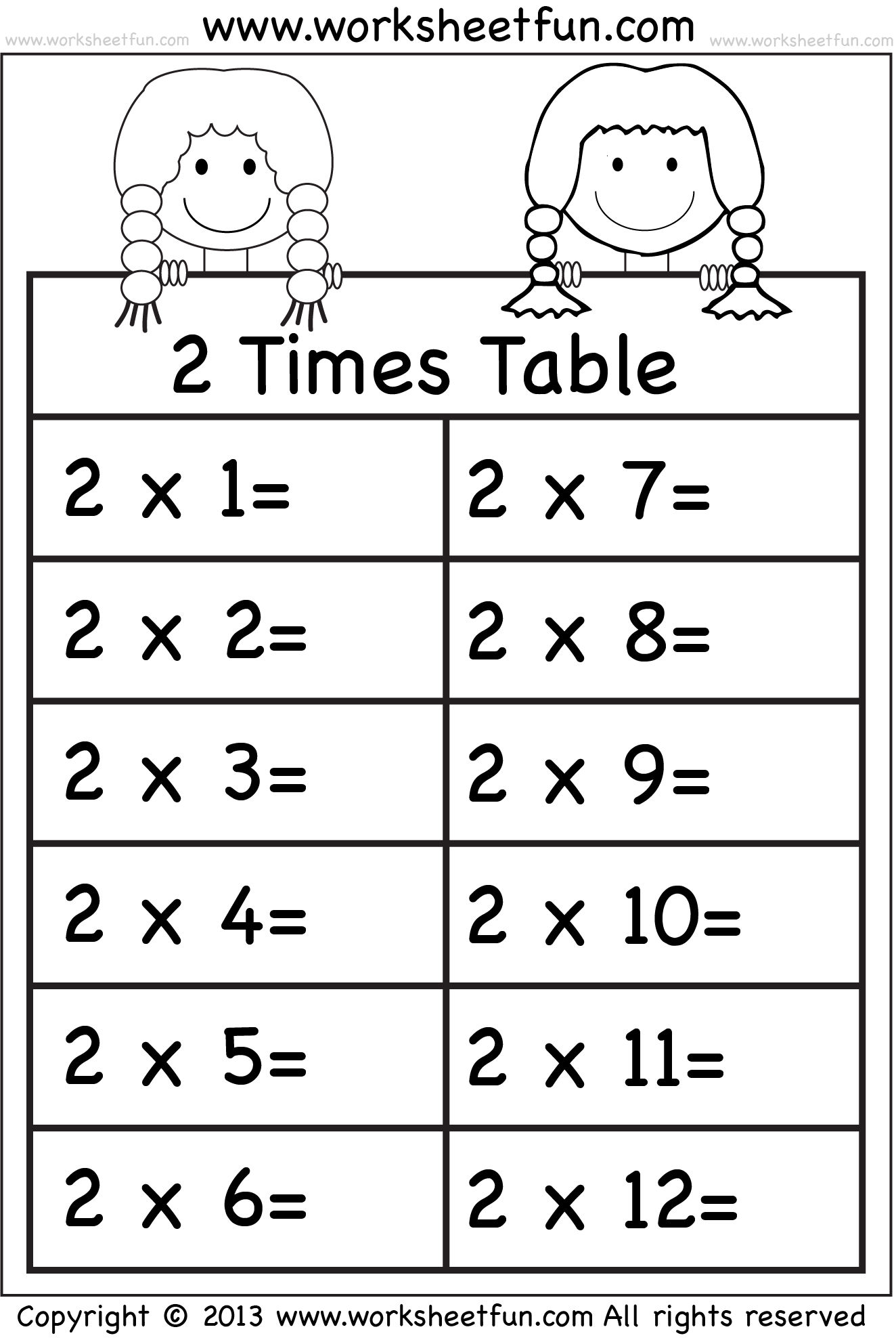 Times Tables Worksheets 2 3 4 5 6 7 8 9 10 11 And 12 Eleven Worksheets Free
