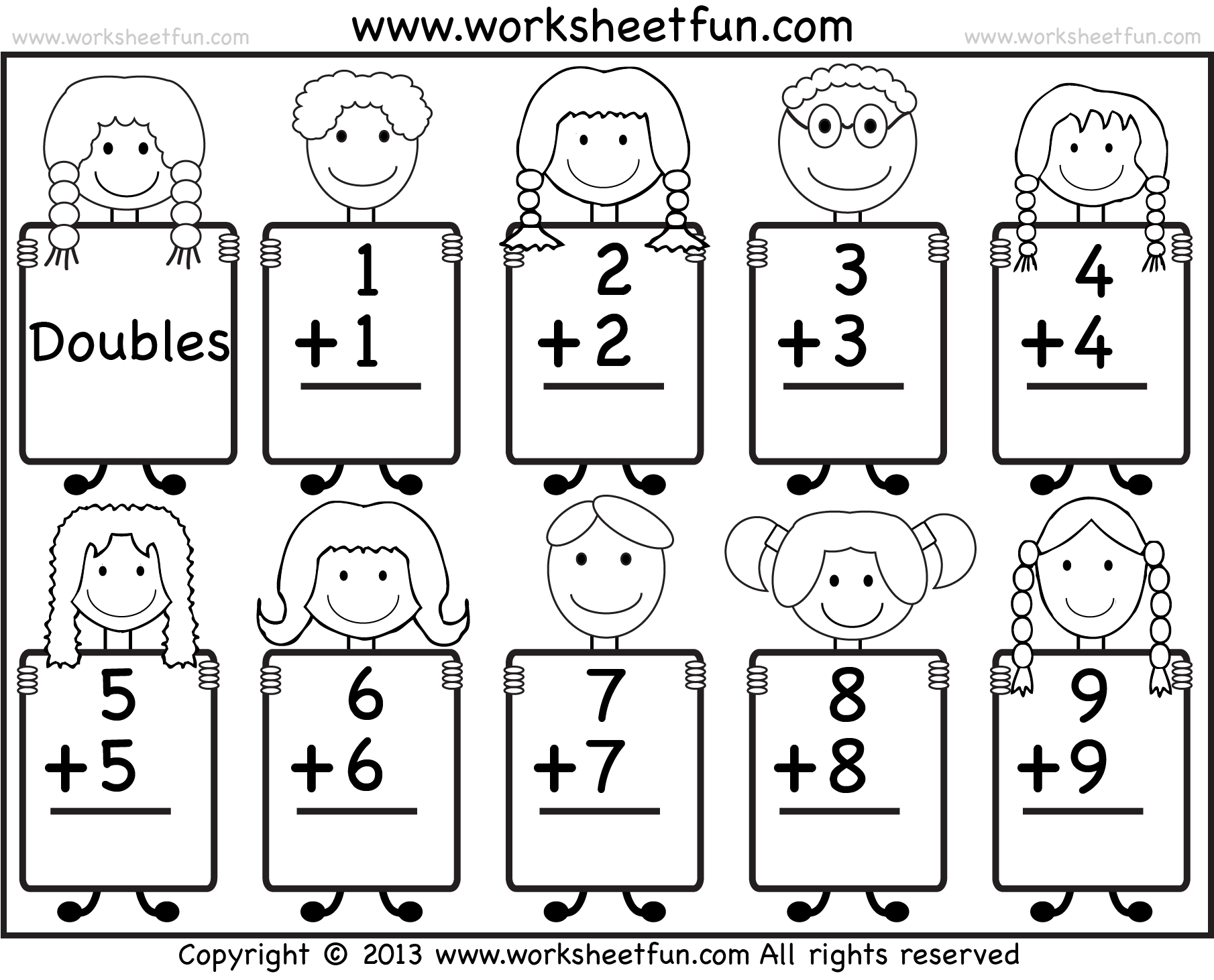 Addition Doubles Facts Beginner Addition Worksheet