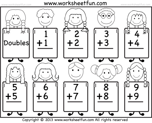 small resolution of Addition Doubles Facts – Beginner Addition worksheet / FREE Printable  Worksheets – Worksheetfun