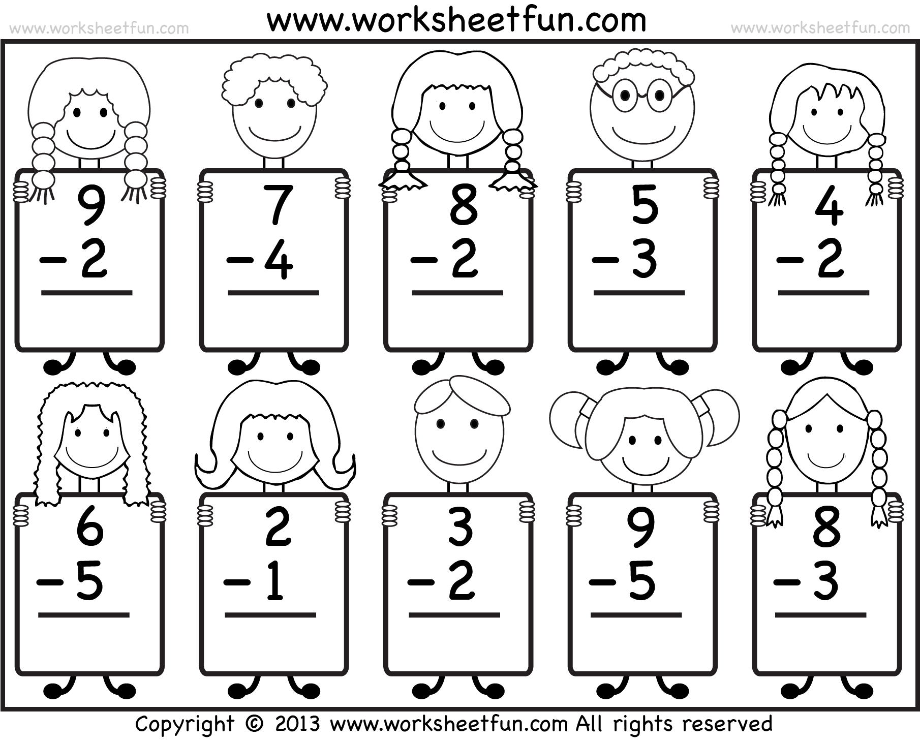 hight resolution of Beginner Subtraction – 10 Kindergarten Subtraction Worksheets / FREE  Printable Worksheets – Worksheetfun