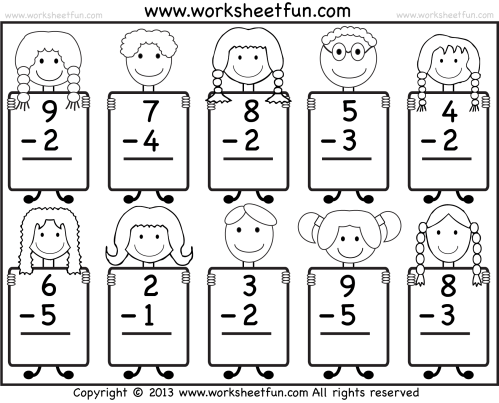 small resolution of Beginner Subtraction – 10 Kindergarten Subtraction Worksheets / FREE  Printable Worksheets – Worksheetfun