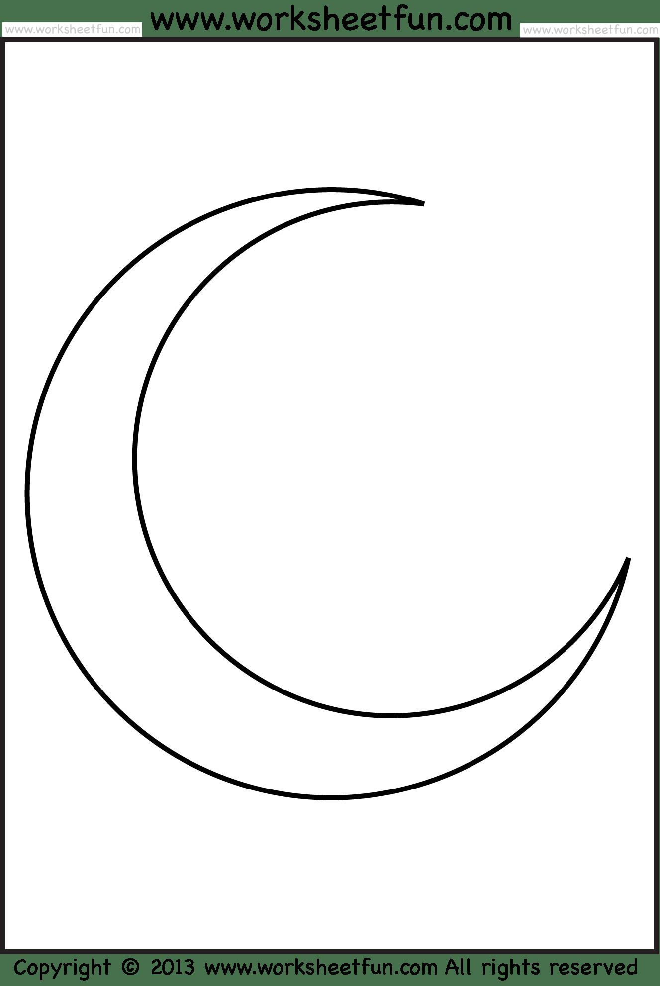 Moon Tracing And Coloring Free Printable Worksheets