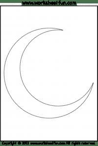 Moon Tracing and Coloring / FREE Printable Worksheets