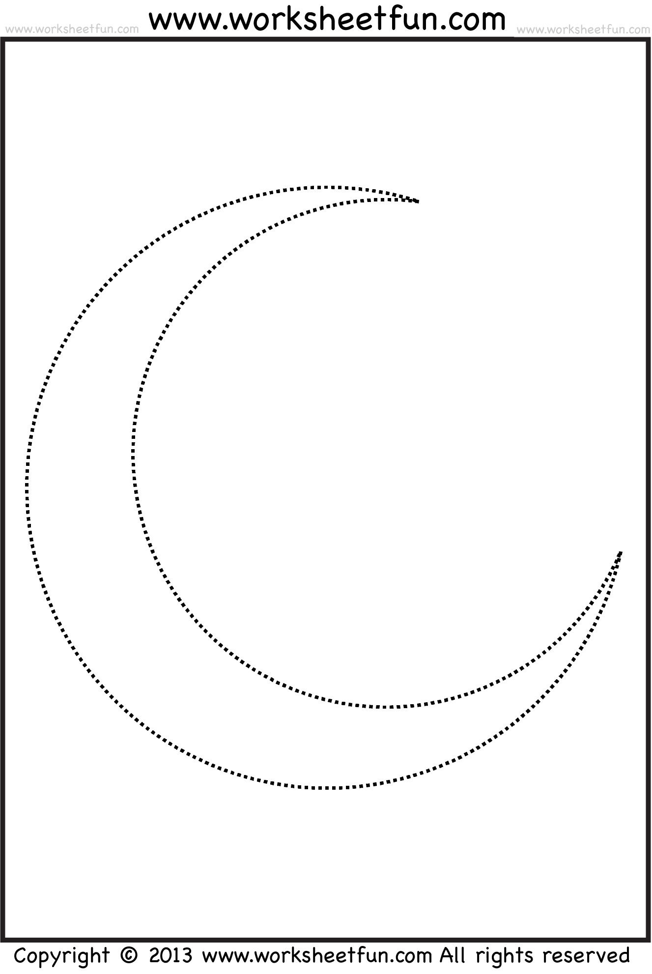 Moon Tracing And Coloring Free Printable Worksheets