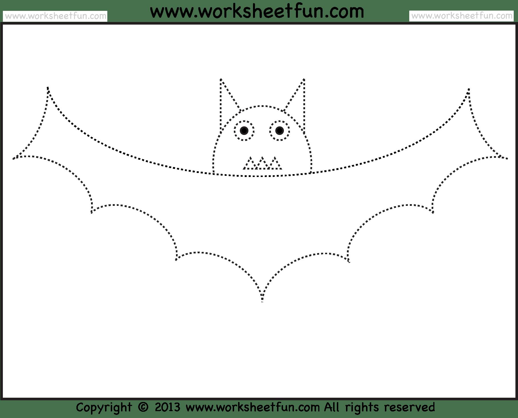 Bat Tracing And Coloring 2 Halloween Worksheets Free