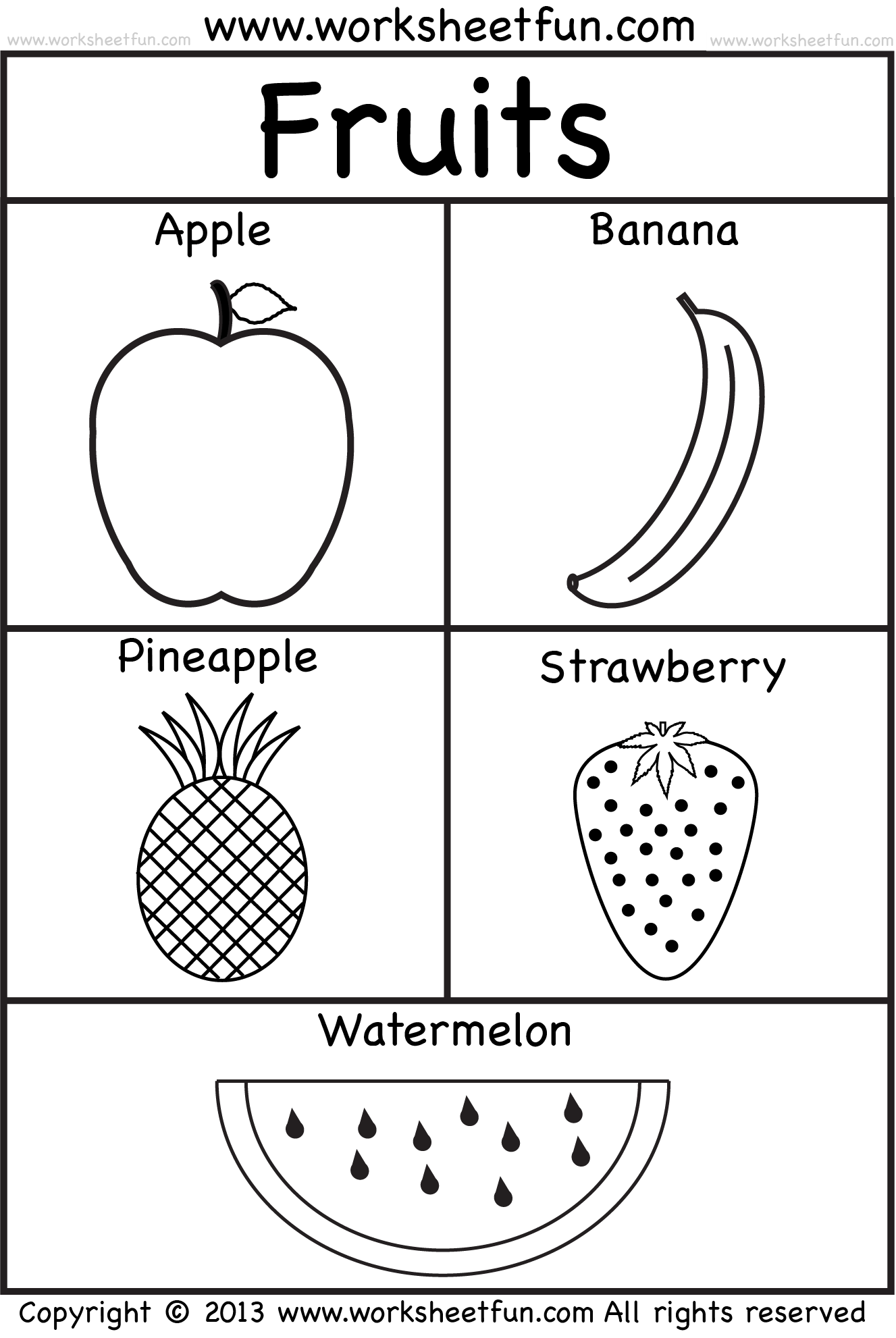 Fruits Coloring And Tracing 4 Preschool Worksheets