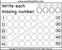 Numbers 1 – 50 / FREE Printable Worksheets