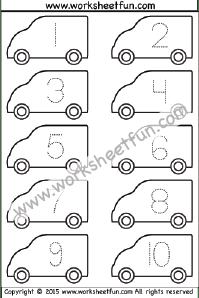 Number Tracing – Van – 1-10