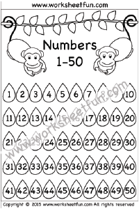 Number Chart – 1-50 / FREE Printable Worksheets
