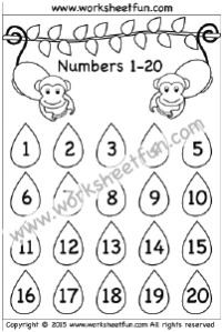Numbers 1 – 20 / FREE Printable Worksheets