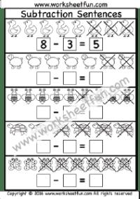 Kindergarten Subtraction / FREE Printable Worksheets