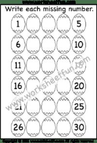Numbers 1 – 30 / FREE Printable Worksheets