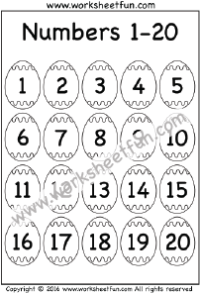 Numbers 1 – 20 / FREE Printable Worksheets