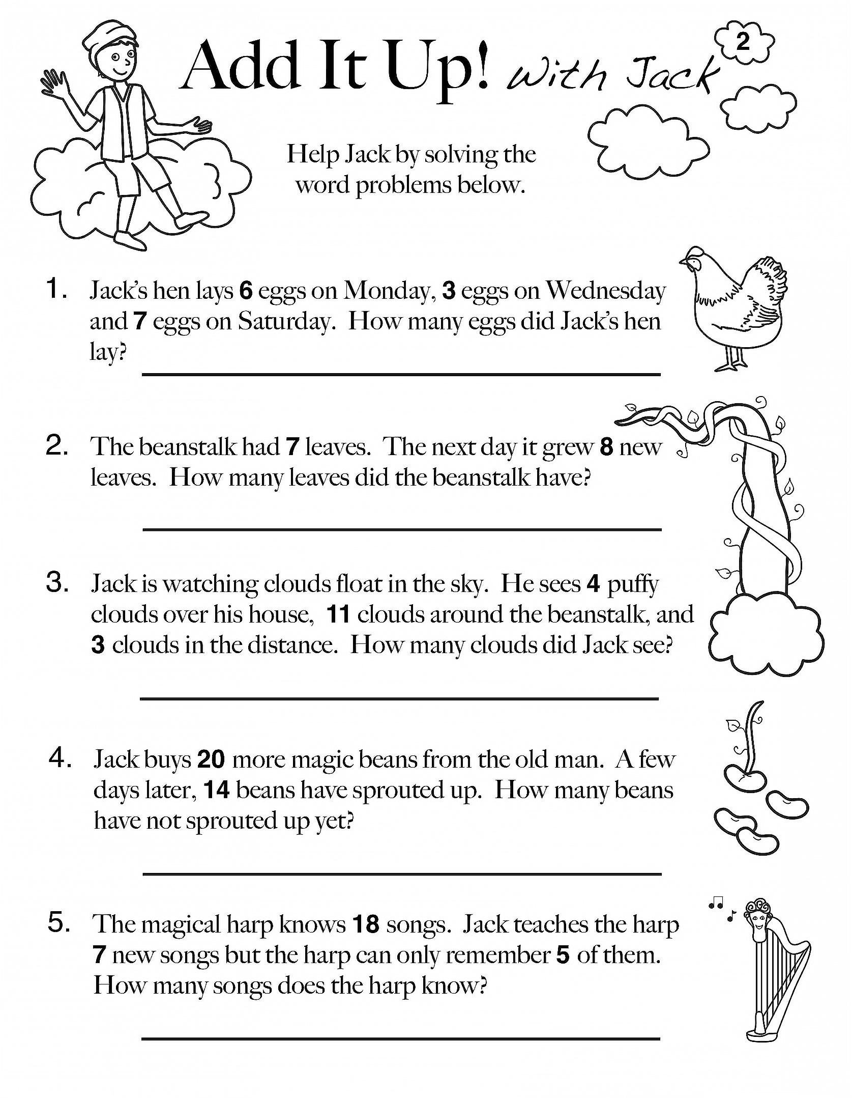 Addition Word Problems Worksheet Grade 5
