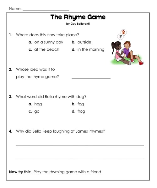 small resolution of 1st Grade Reading Comprehension Worksheets Printable PDF   Worksheet Hero