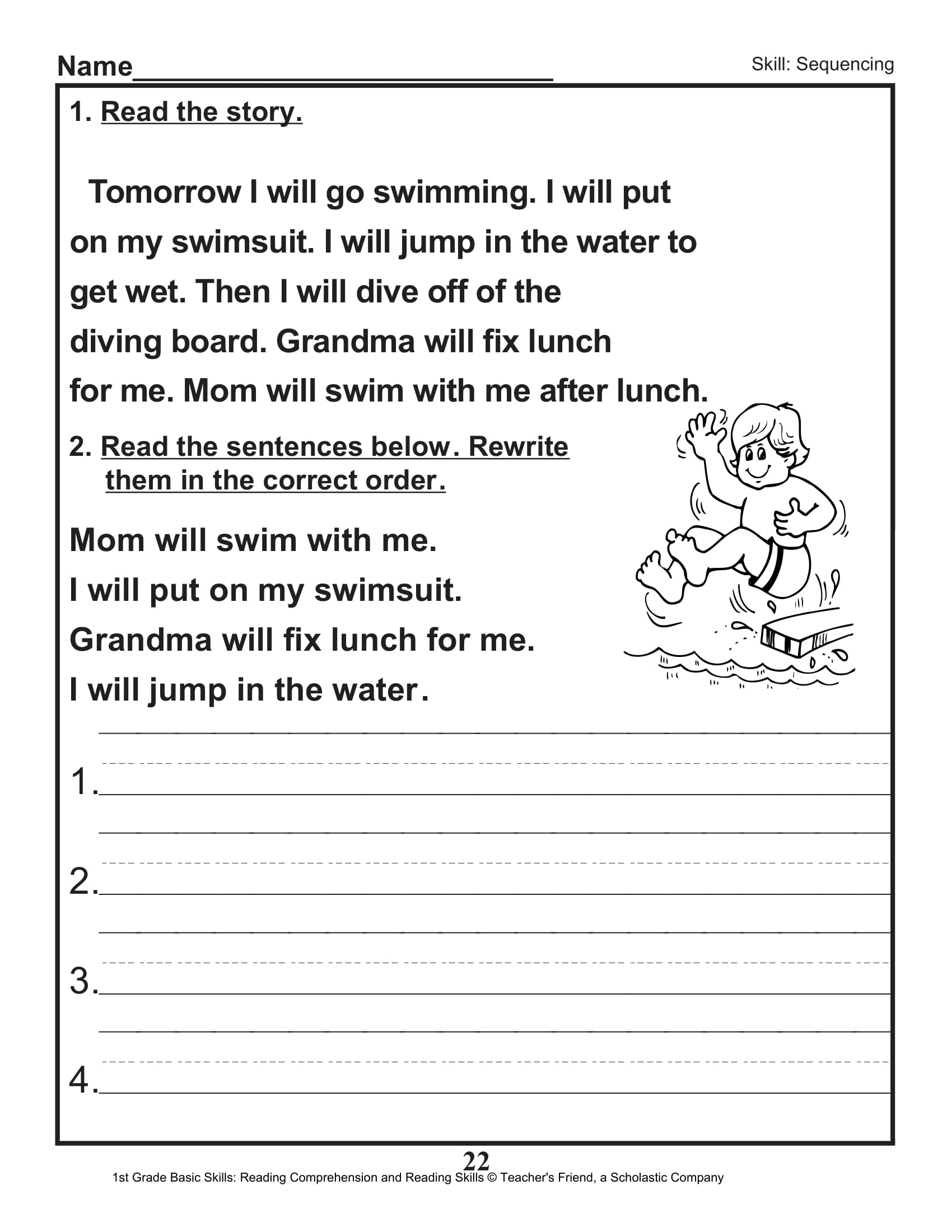 Blank Sequence Worksheet For First Grade