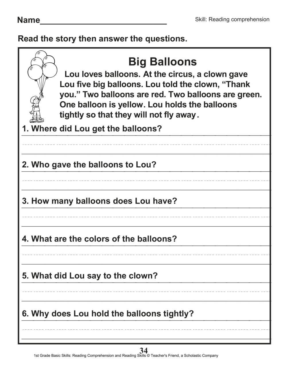 medium resolution of 40 Scholastic 1st Grade Reading Comprehension Skills Worksheets   Worksheet  Hero