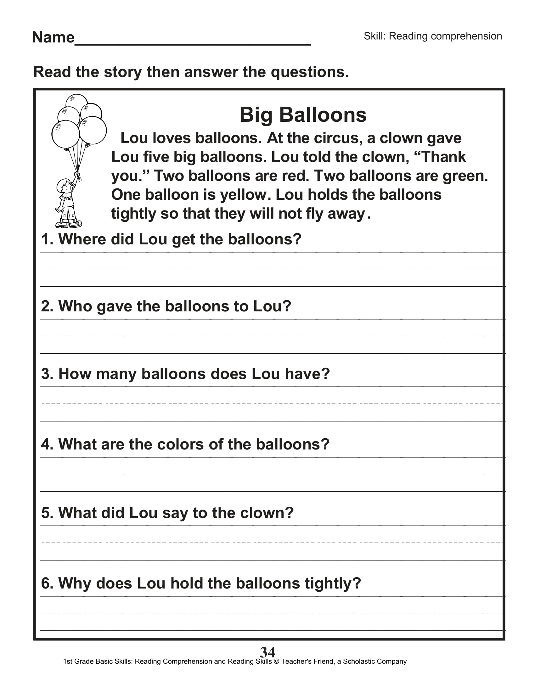 hight resolution of 40 Scholastic 1st Grade Reading Comprehension Skills Worksheets   Worksheet  Hero