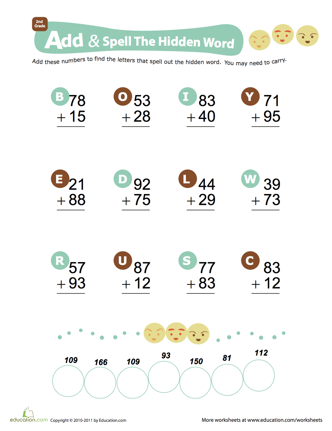What Are Some Words For Addition Worksheets