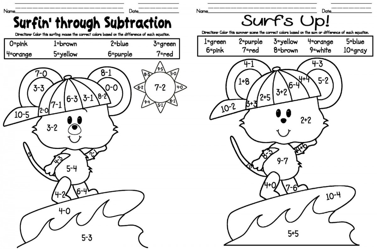 Addition And Subtraction Coloring Pages Worksheets