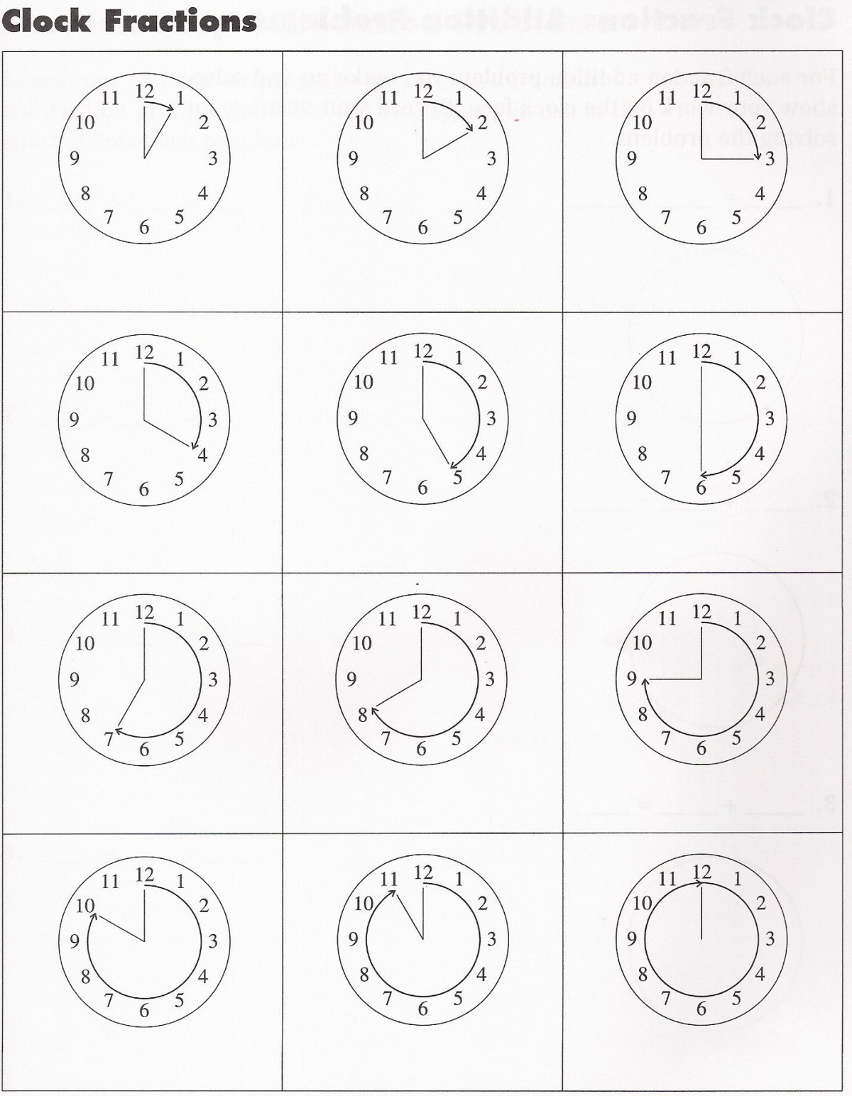 Clock Fractions Addition Problems Worksheets