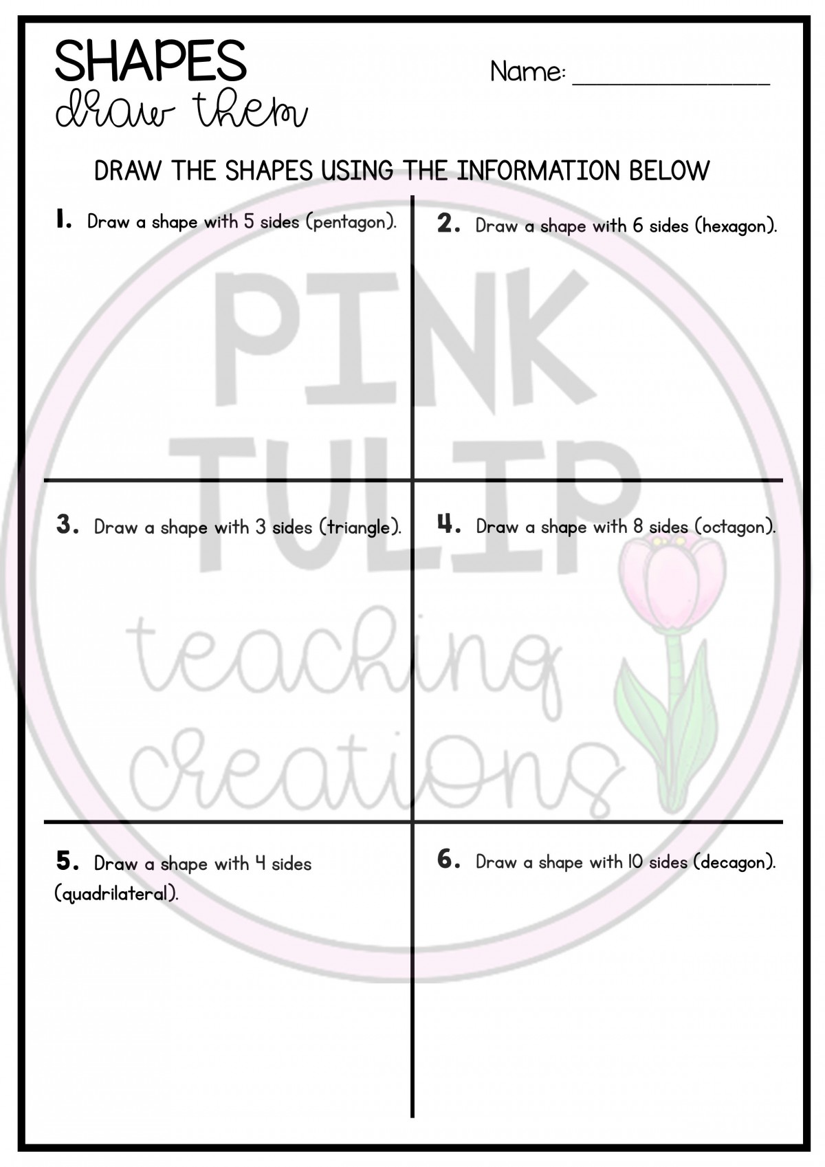 Decagon Pattern Worksheets