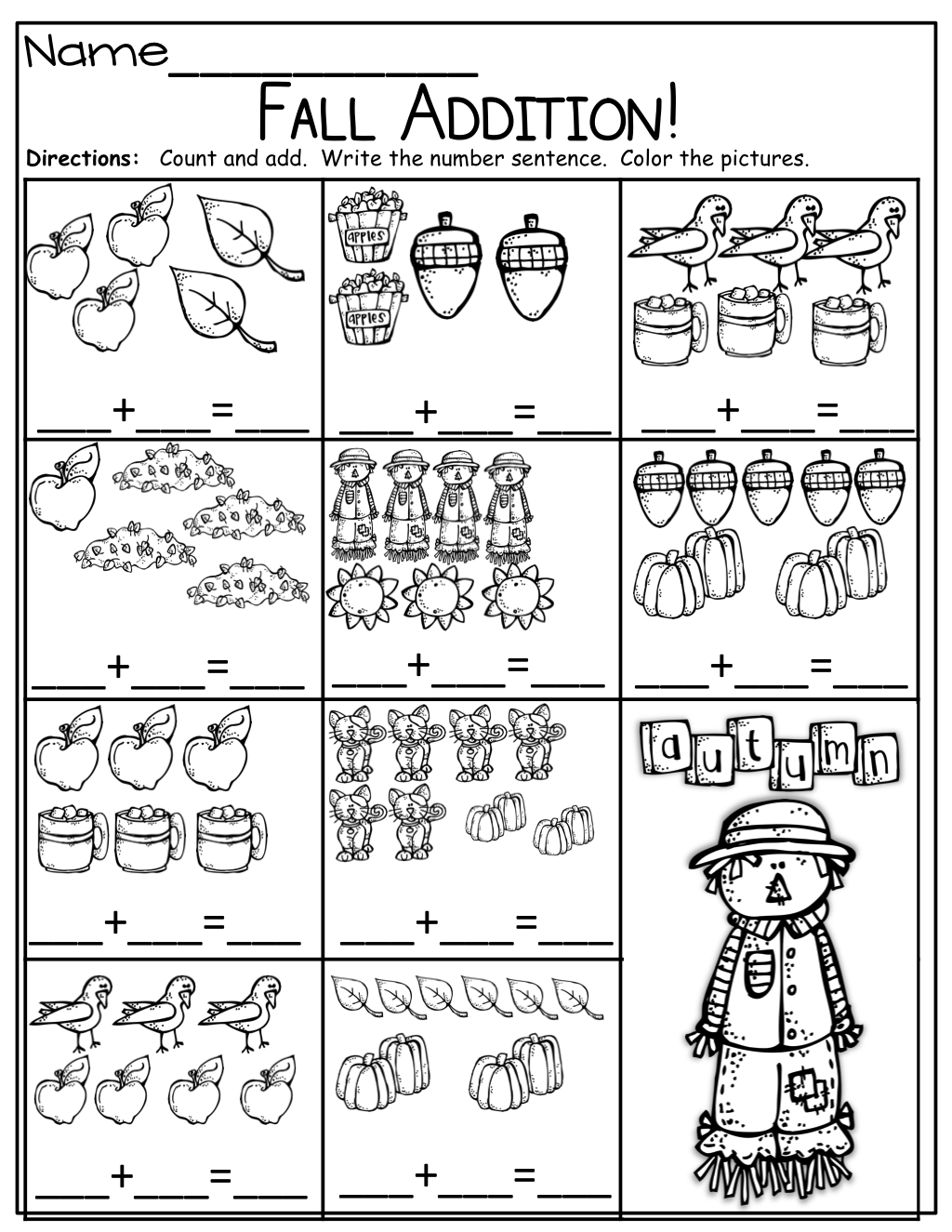 Simple Addition For Kindergarten Worksheets
