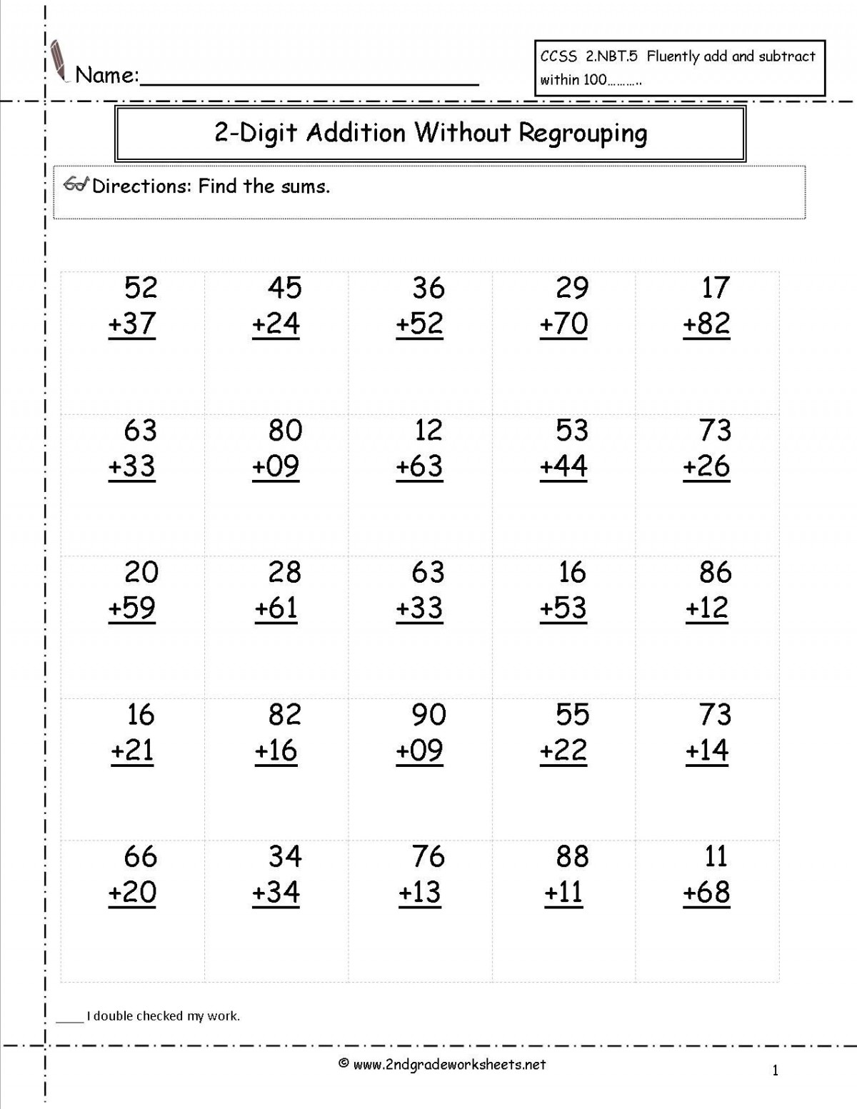 Double Digit Addition Activities Worksheets