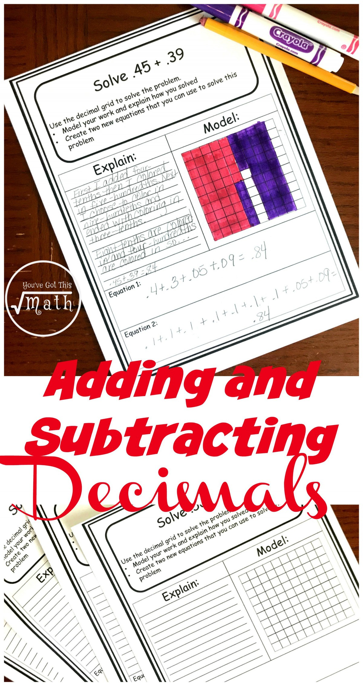 Decimal Addition With Hundreds Grids Worksheets