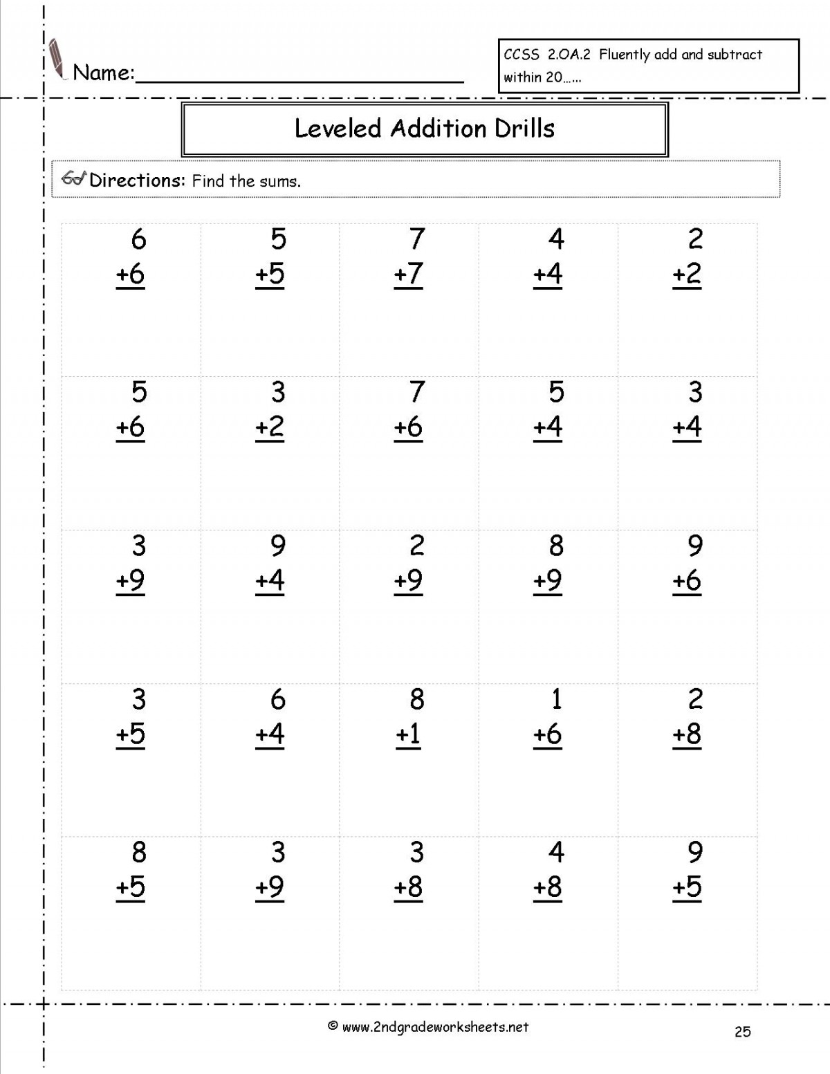 2nd Grade Math Addition Worksheets