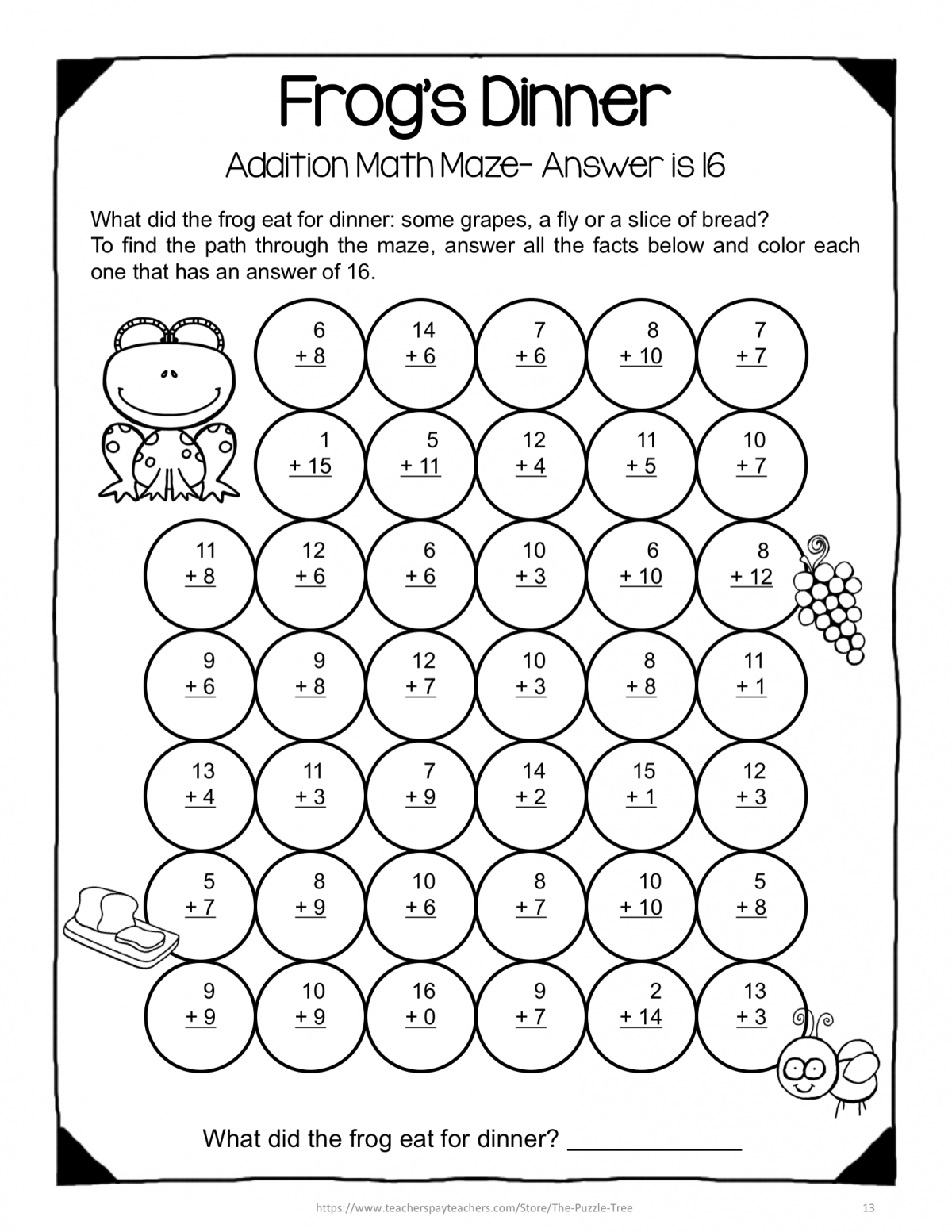 Addition Facts Game Worksheets