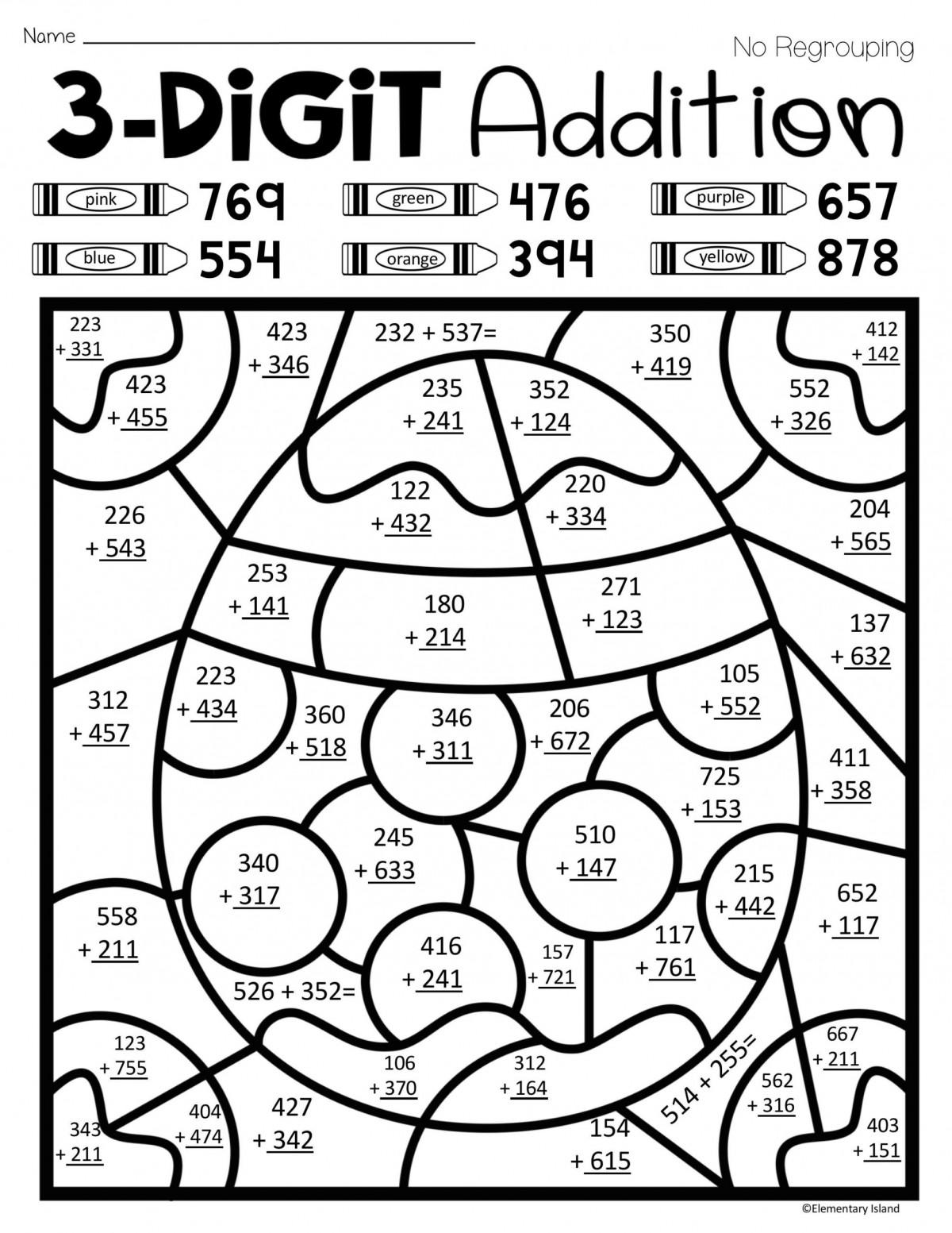 3 Digit Addition Color By Number Worksheets