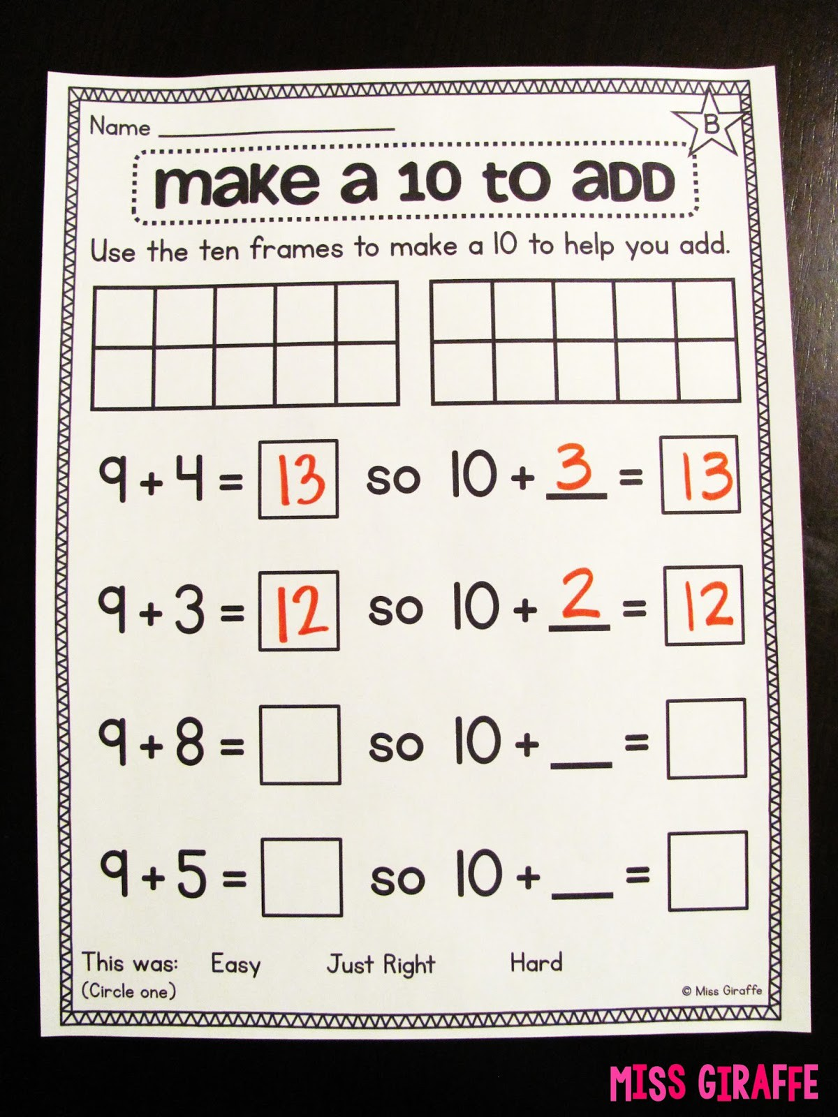 Making 10 Strategy For Addition Worksheets