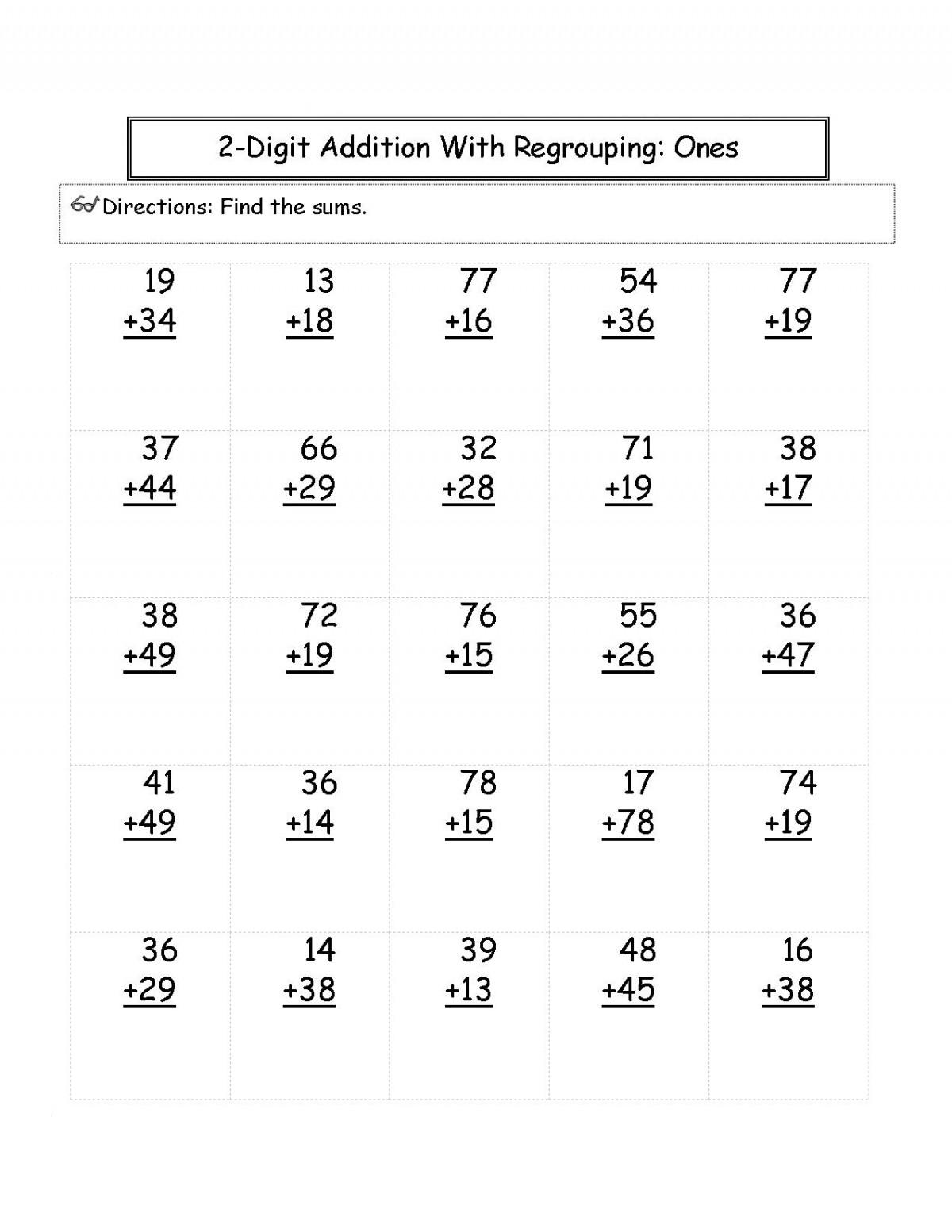 Addition Math For 2nd Grade Worksheets